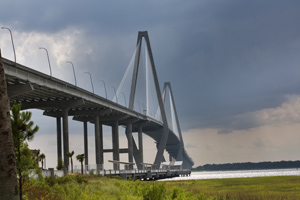 The Arthur Ravenel Bridge, modern marvel of beauty and traffic into and out of Charleston