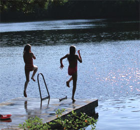 Kids jump into the water in Moncks Corner, South Carolina